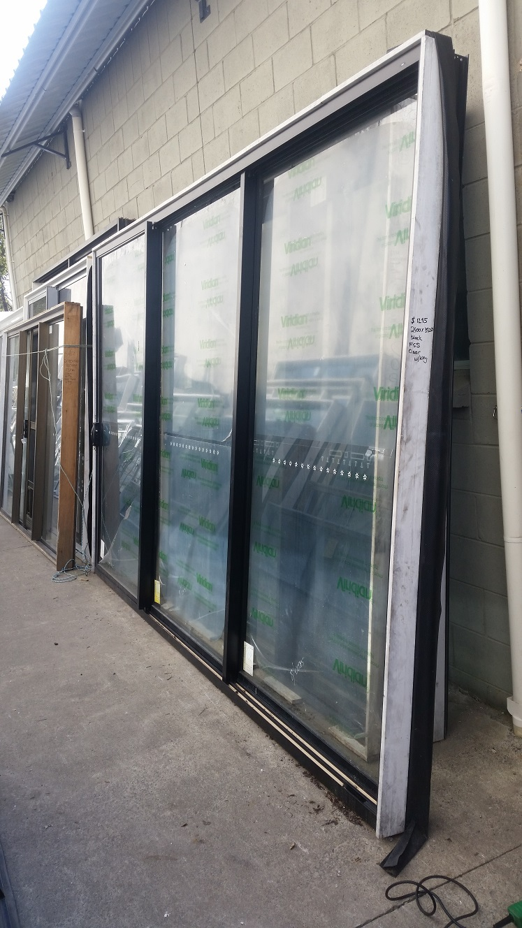 Factory Second Doors Stacker Door 2400h X 3800w Black W Clear